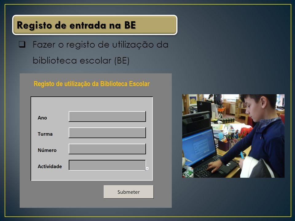 Registo de entrada na BE
