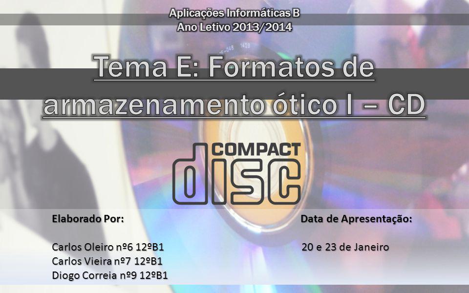 Tema E: Formatos de armazenamento ótico I – CD