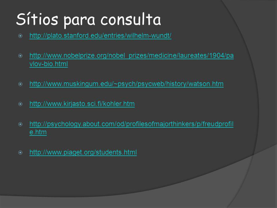 Sítios para consulta http://plato.stanford.edu/entries/wilhelm-wundt/