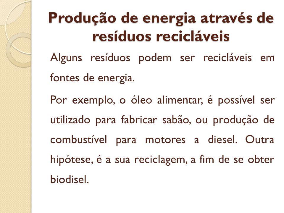 Produção de energia através de resíduos recicláveis