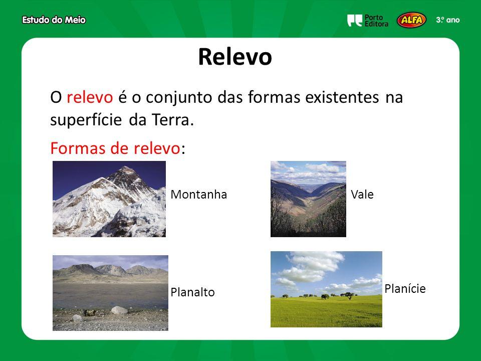 Relevo O relevo é o conjunto das formas existentes na superfície da Terra. Formas de relevo: Montanha.
