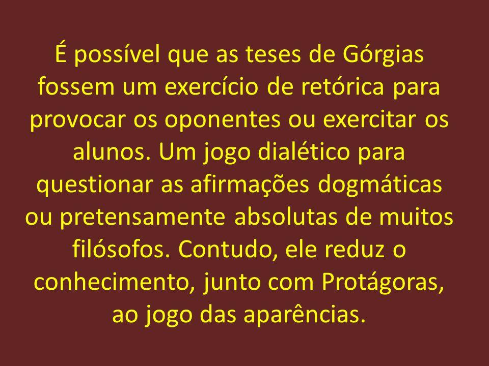 É possível que as teses de Górgias fossem um exercício de retórica para provocar os oponentes ou exercitar os alunos.