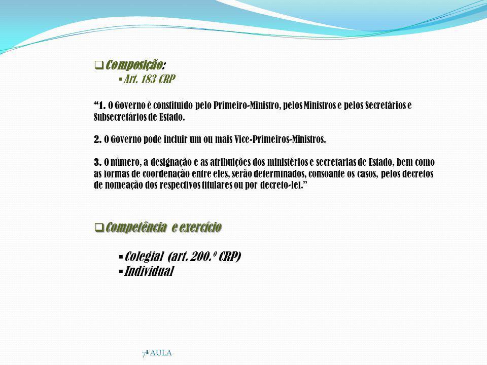 Competência e exercício Colegial (art. 200.º CRP) Individual