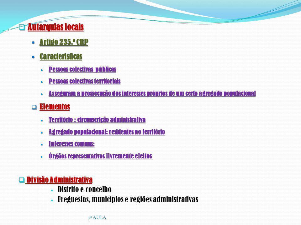 Autarquias locais Artigo 235.ª CRP Caracteristicas Elementos