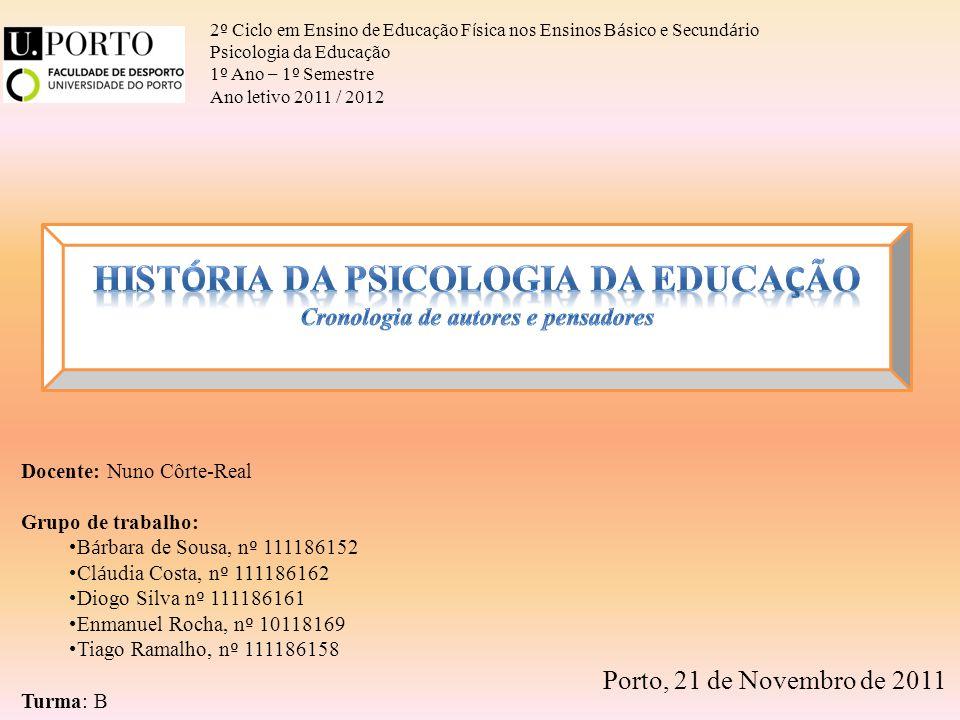 História da Psicologia da Educação Cronologia de autores e pensadores