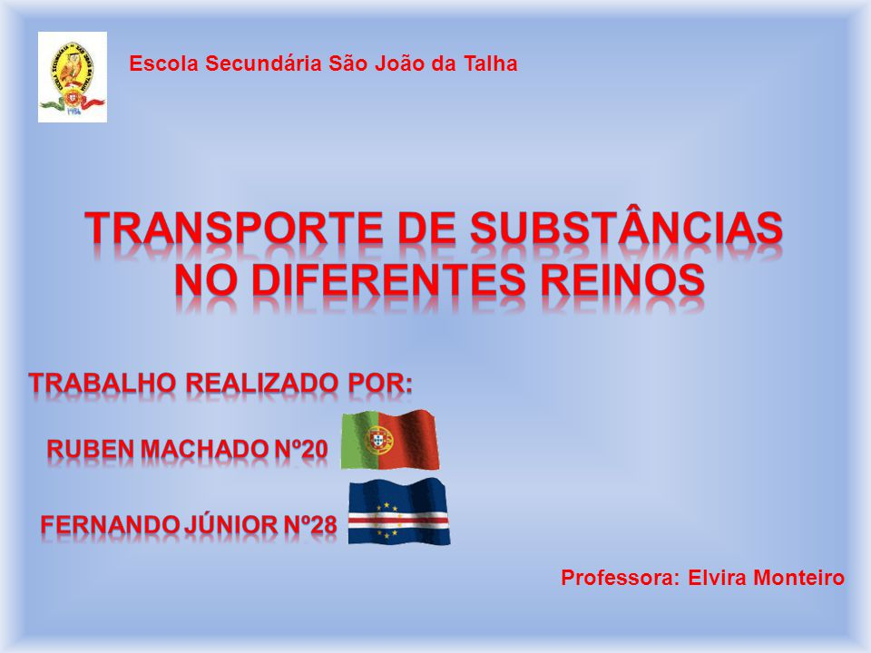 Transporte de substâncias Trabalho realizado por: