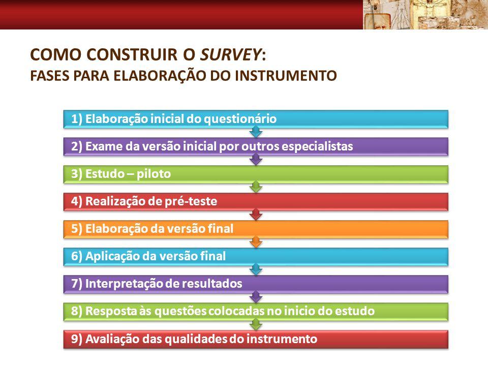 Como Construir o Survey: Fases para elaboração do instrumento
