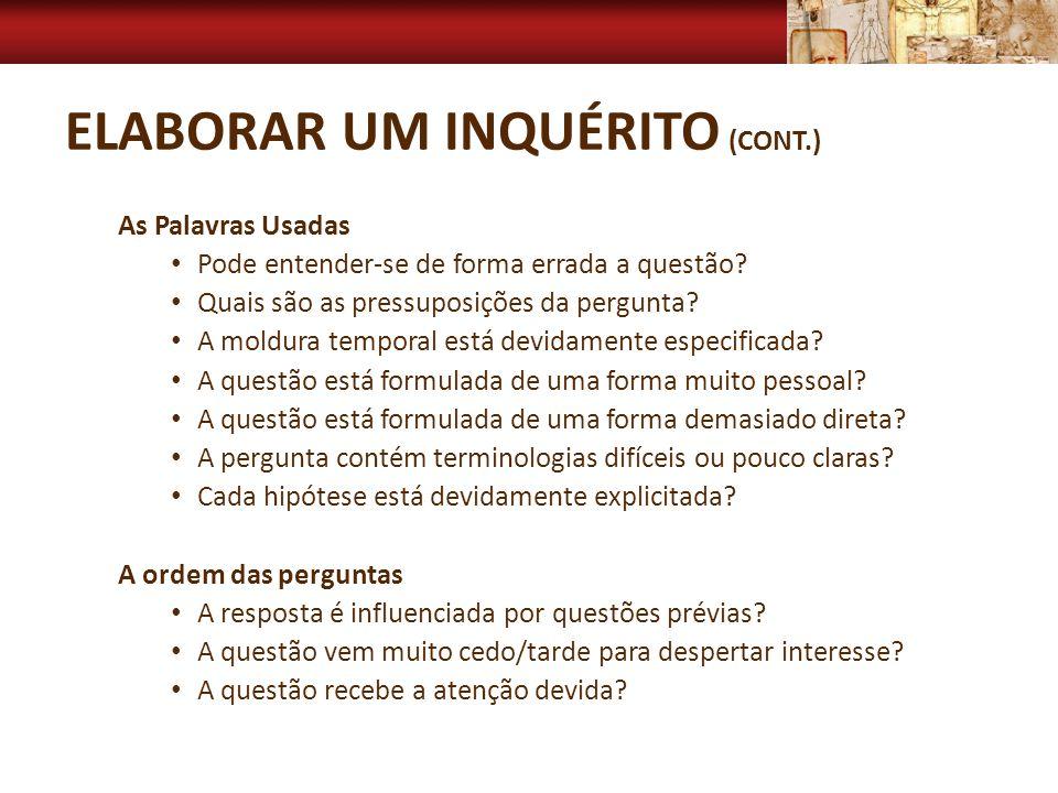 Elaborar um inquérito (cont.)