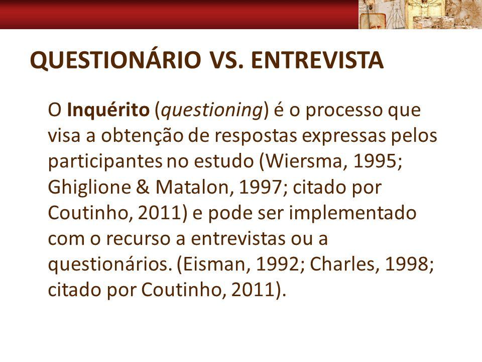 Questionário vs. entrevista