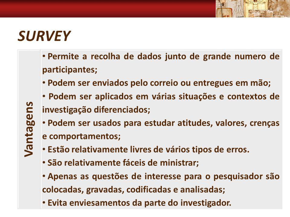 Survey Vantagens. Permite a recolha de dados junto de grande numero de participantes; Podem ser enviados pelo correio ou entregues em mão;