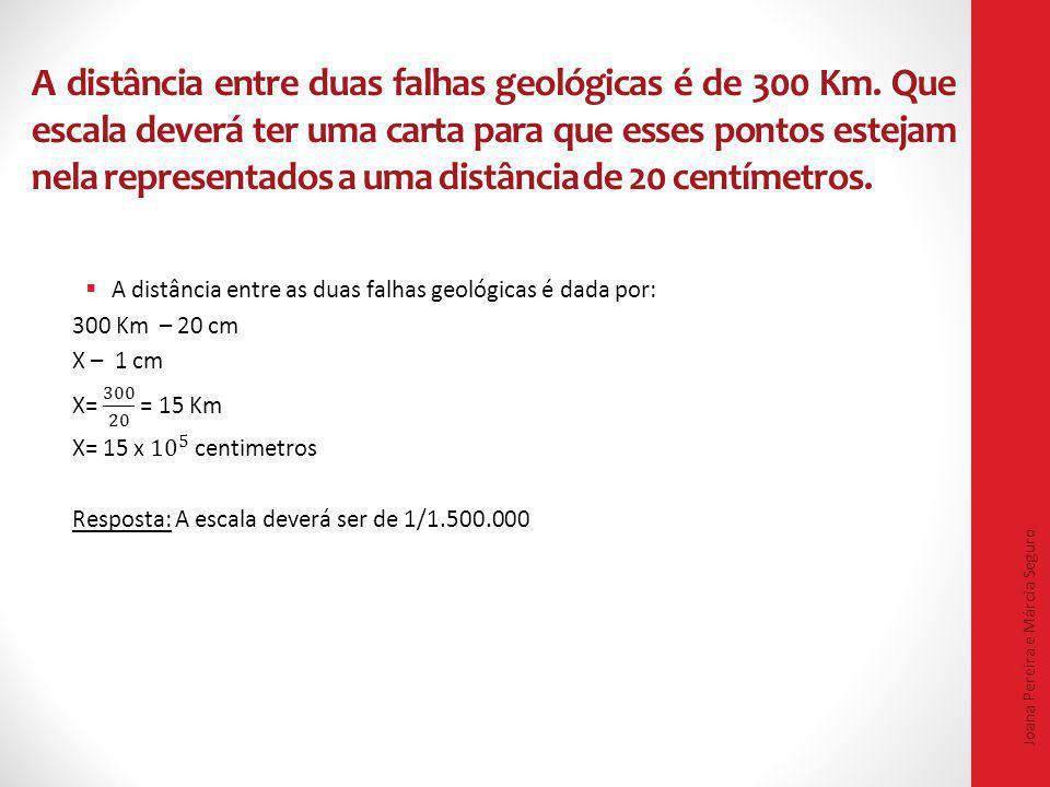 A distância entre duas falhas geológicas é de 300 Km