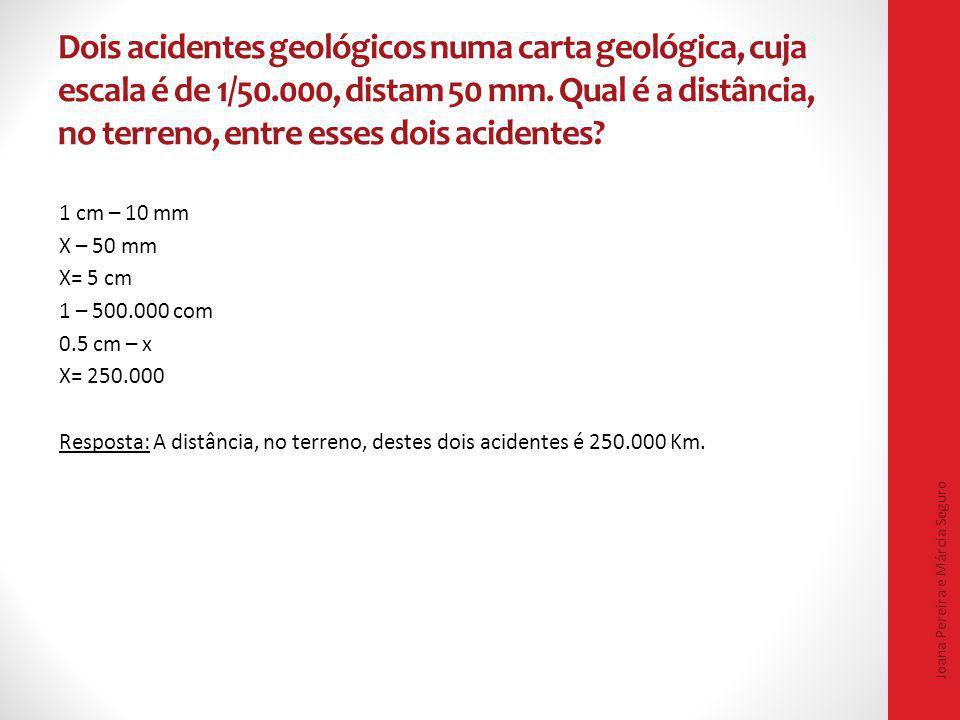 Dois acidentes geológicos numa carta geológica, cuja escala é de 1/50