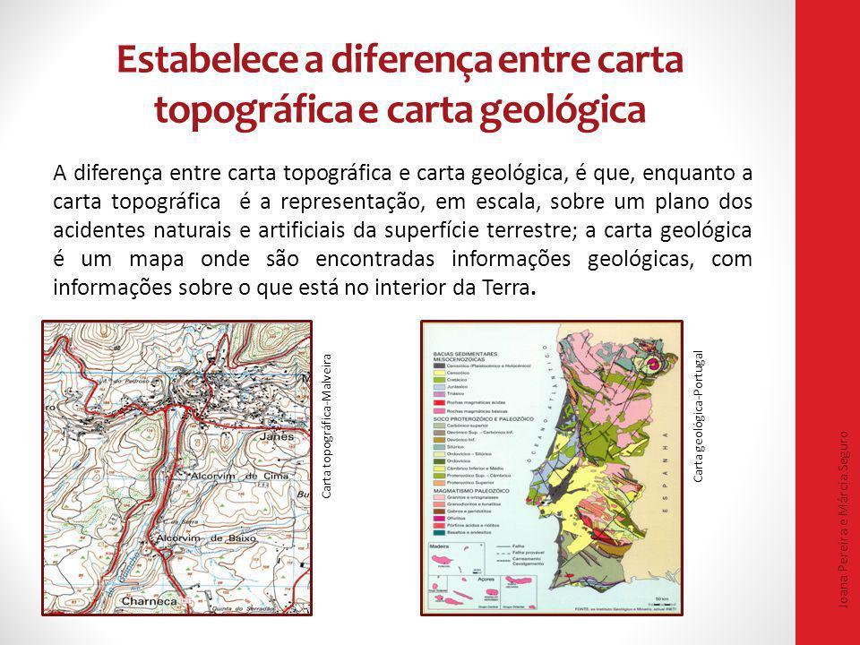 Estabelece a diferença entre carta topográfica e carta geológica