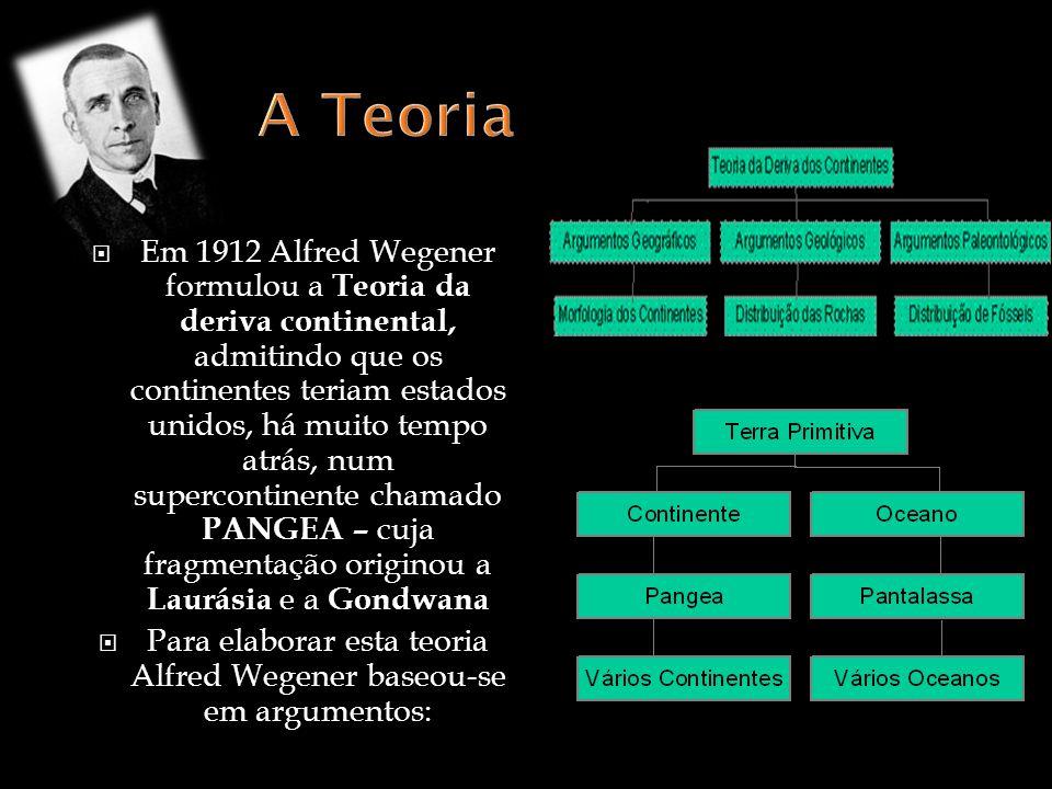 Para elaborar esta teoria Alfred Wegener baseou-se em argumentos: