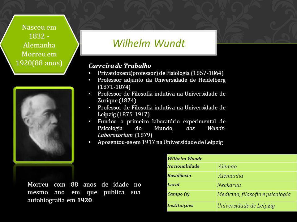 Wilhelm Wundt Nasceu em 1832 - Alemanha Morreu em 1920(88 anos)