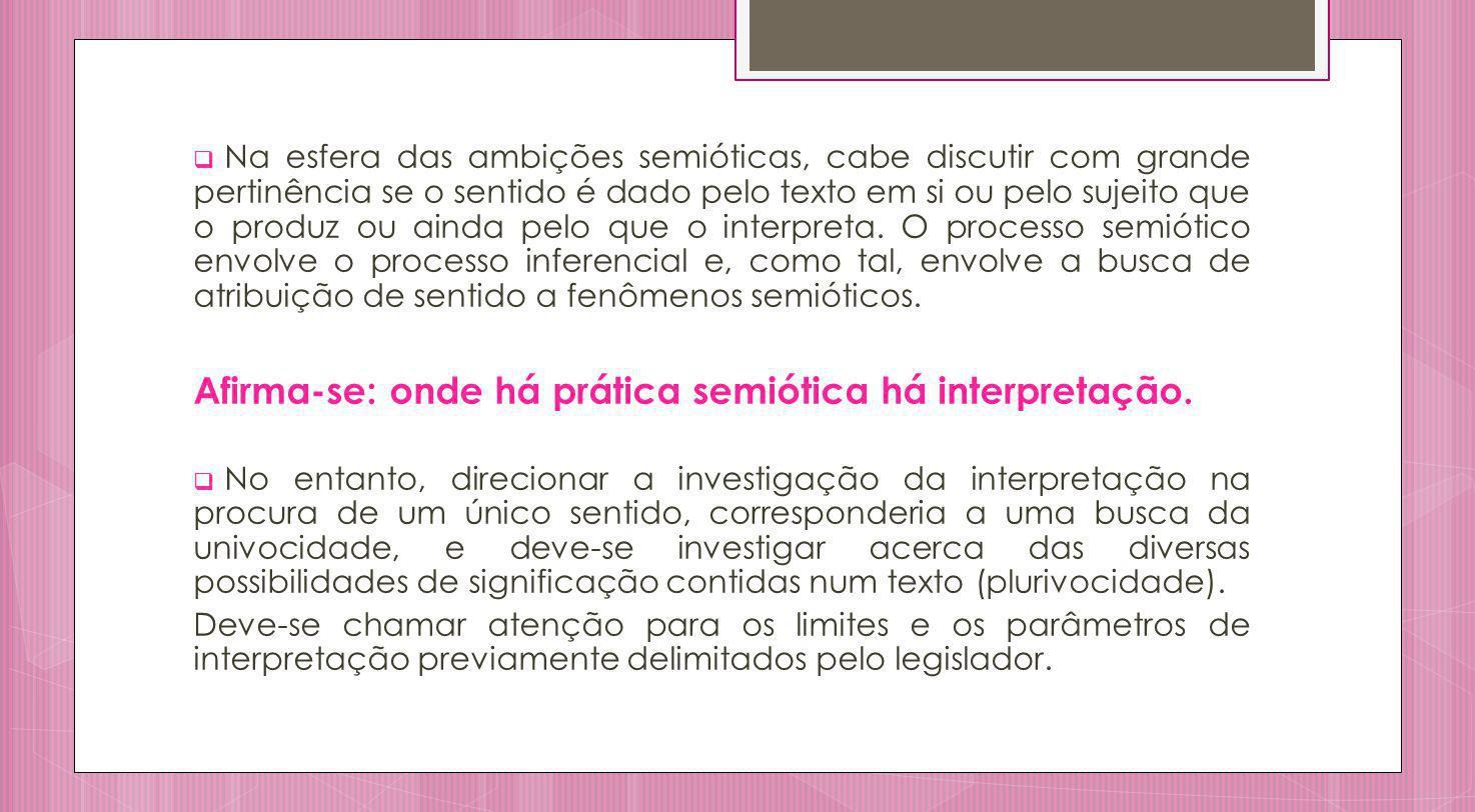 Afirma-se: onde há prática semiótica há interpretação.