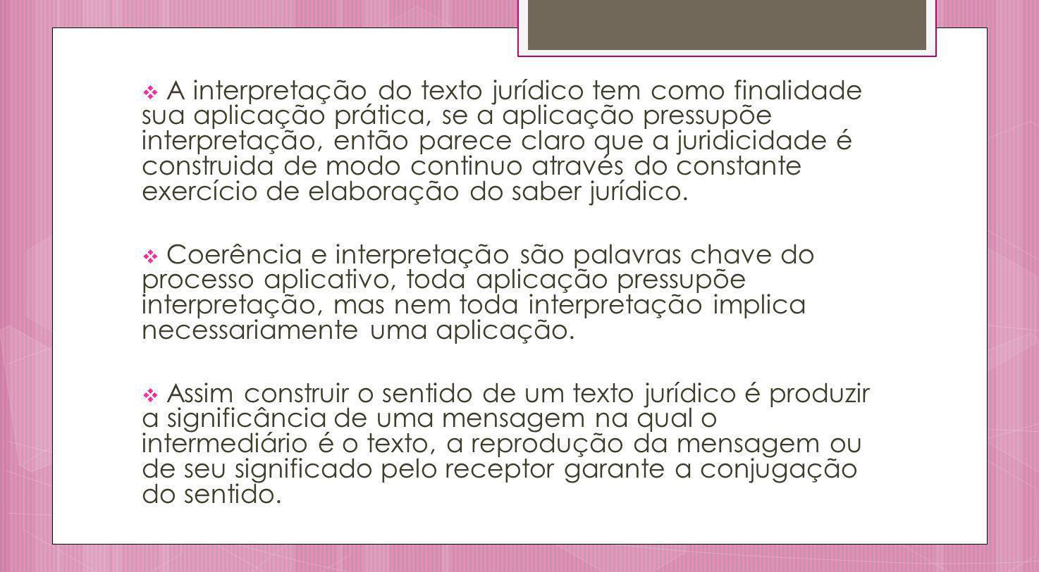 A interpretação do texto jurídico tem como finalidade sua aplicação prática, se a aplicação pressupõe interpretação, então parece claro que a juridicidade é construida de modo continuo através do constante exercício de elaboração do saber jurídico.
