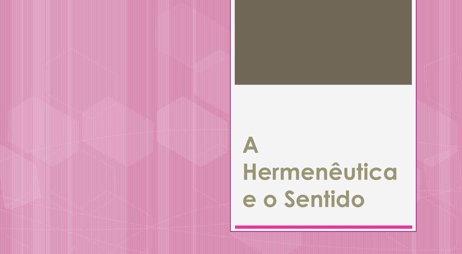 A Hermenêutica e o Sentido