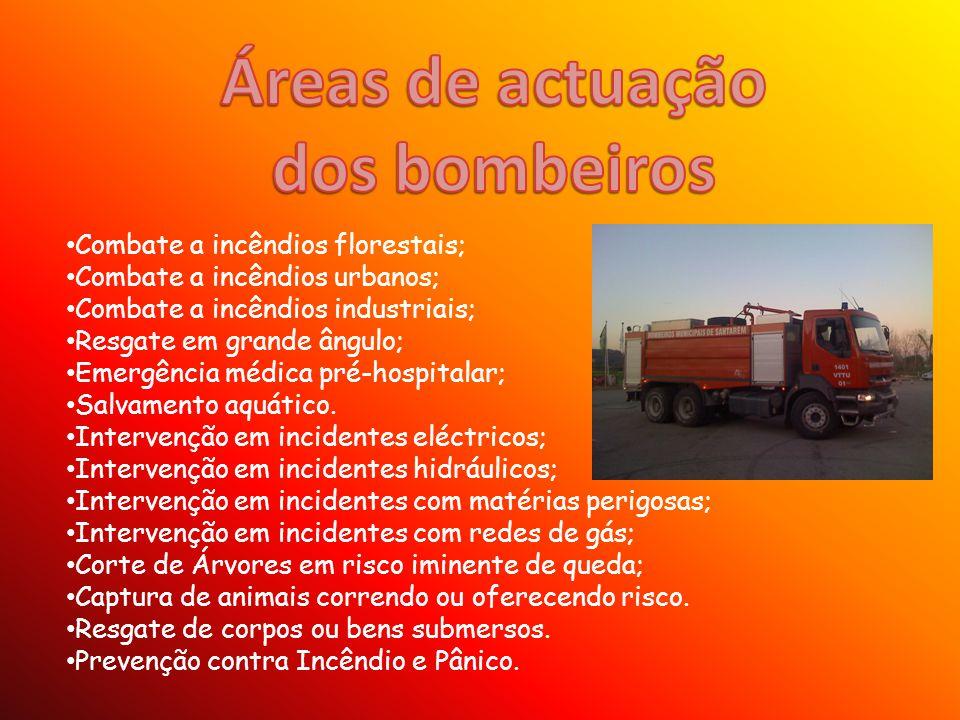 Áreas de actuação dos bombeiros