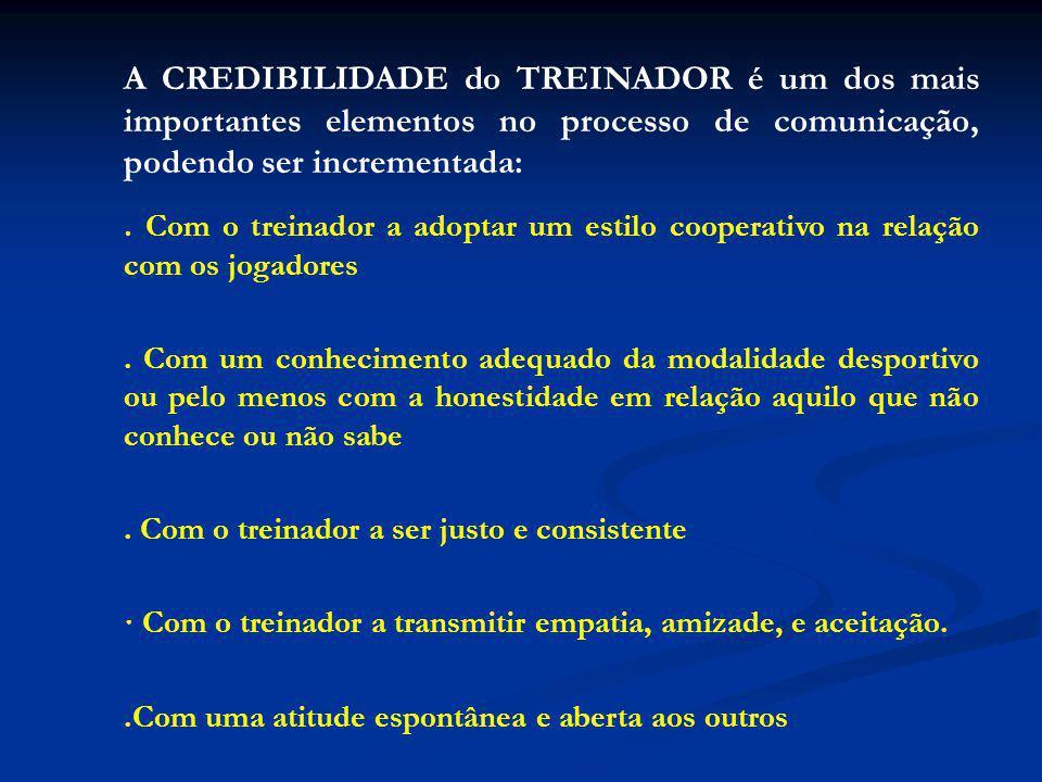 A CREDIBILIDADE do TREINADOR é um dos mais importantes elementos no processo de comunicação, podendo ser incrementada: