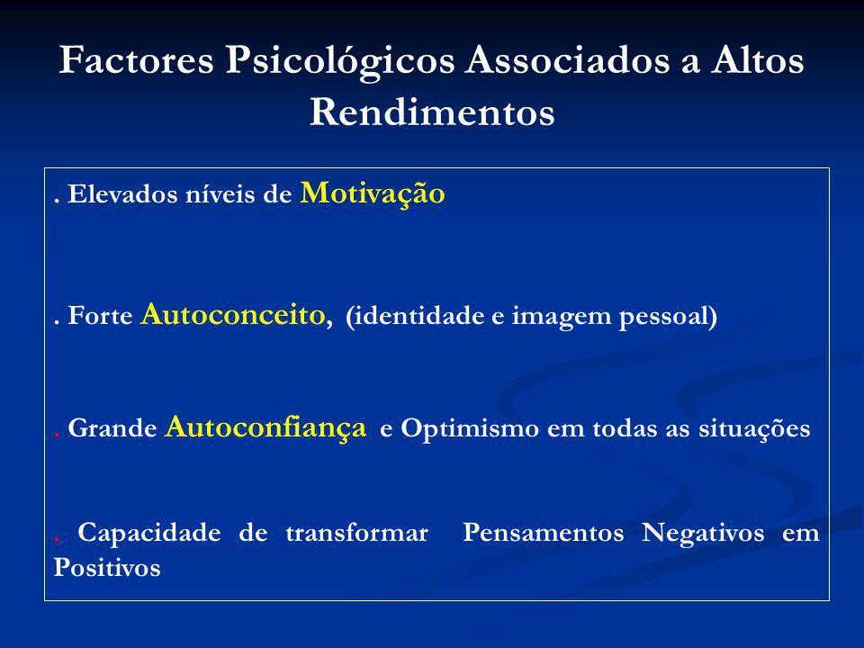 Factores Psicológicos Associados a Altos Rendimentos