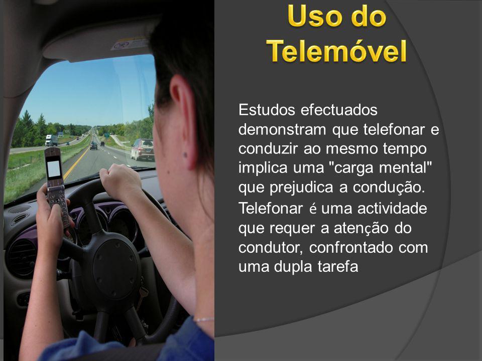 Uso do Telemóvel Estudos efectuados demonstram que telefonar e conduzir ao mesmo tempo implica uma carga mental que prejudica a condução.