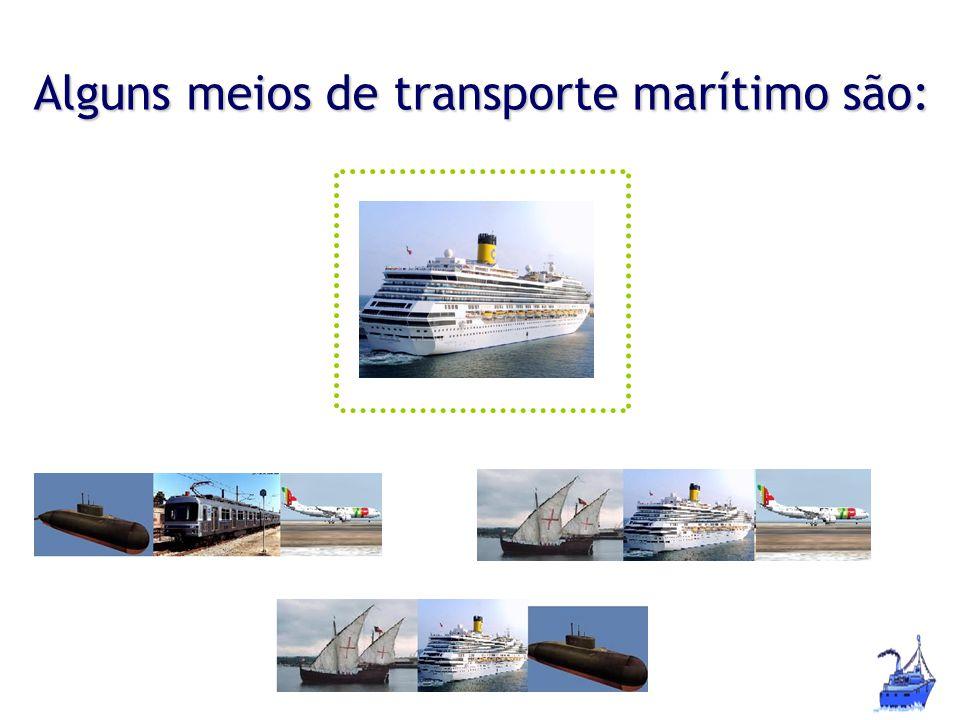 Alguns meios de transporte marítimo são: