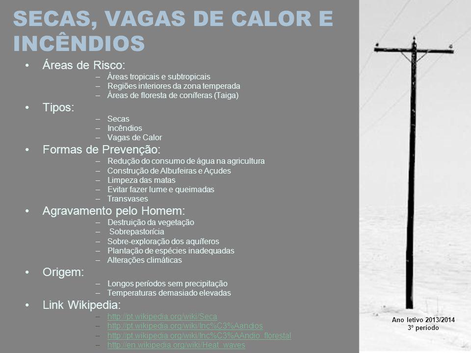 SECAS, VAGAS DE CALOR E INCÊNDIOS