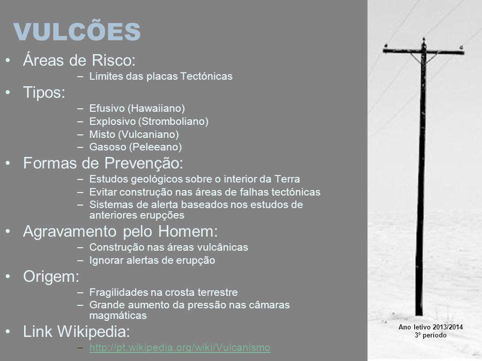 VULCÕES Áreas de Risco: Tipos: Formas de Prevenção: