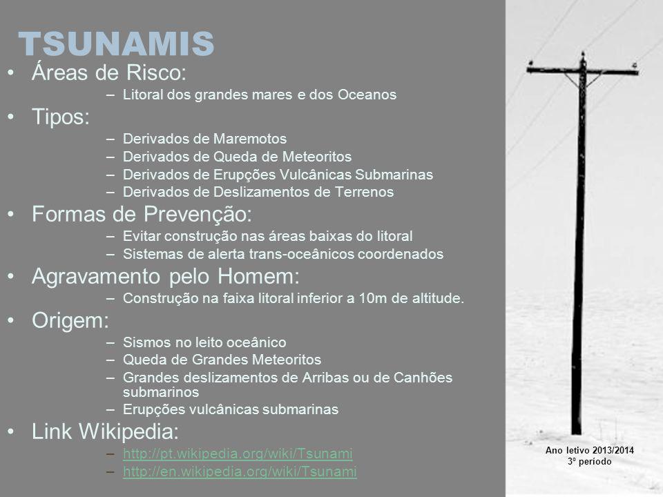 TSUNAMIS Áreas de Risco: Tipos: Formas de Prevenção: