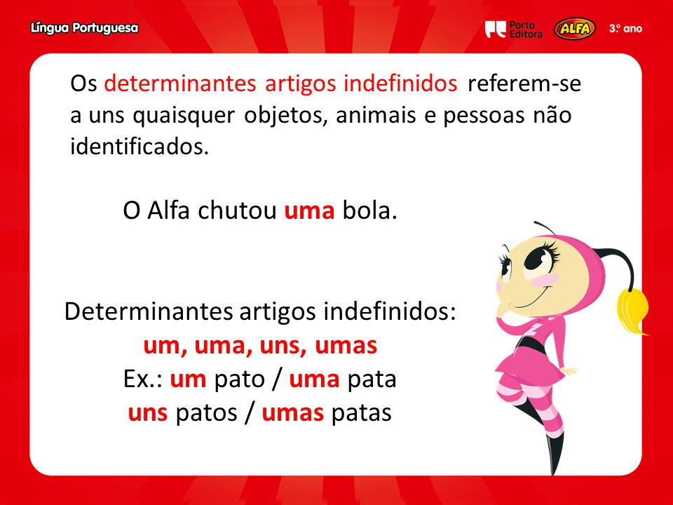Determinantes artigos indefinidos: