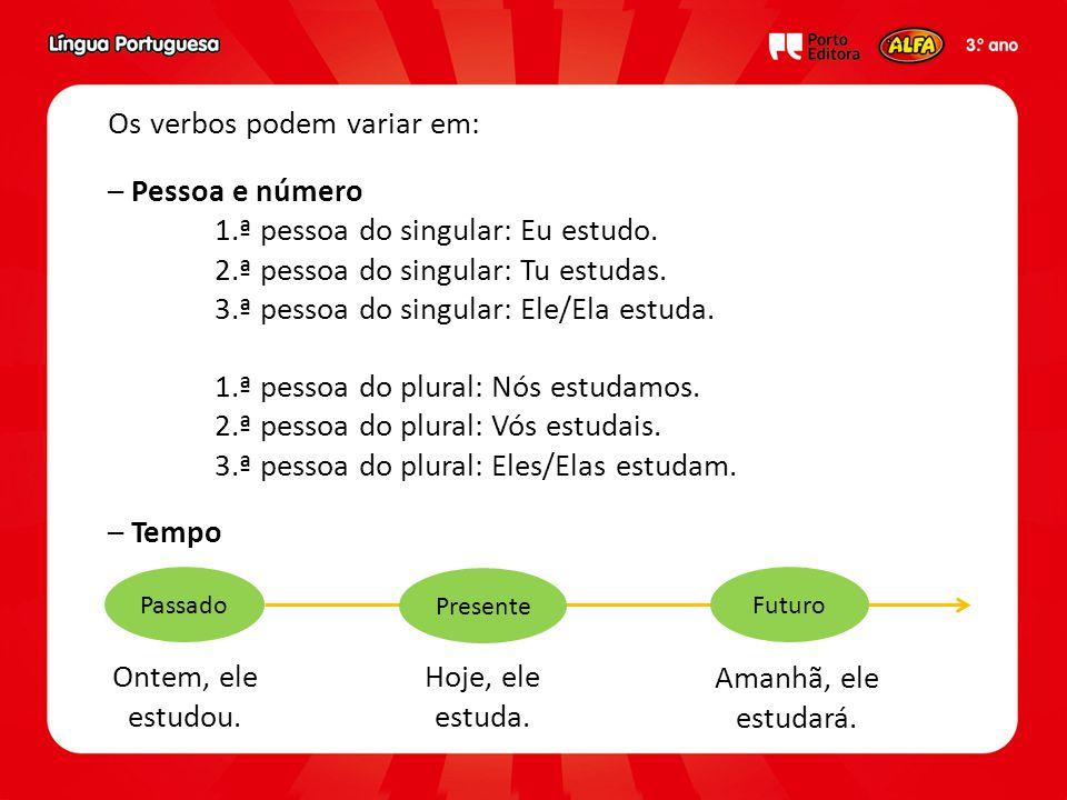Os verbos podem variar em: – Pessoa e número