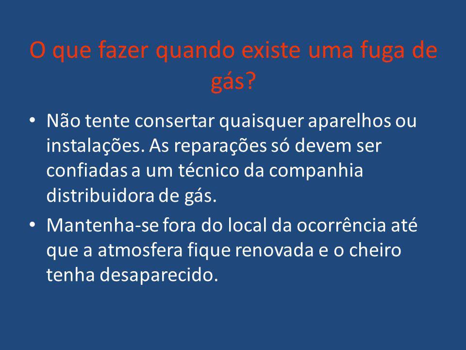 O que fazer quando existe uma fuga de gás