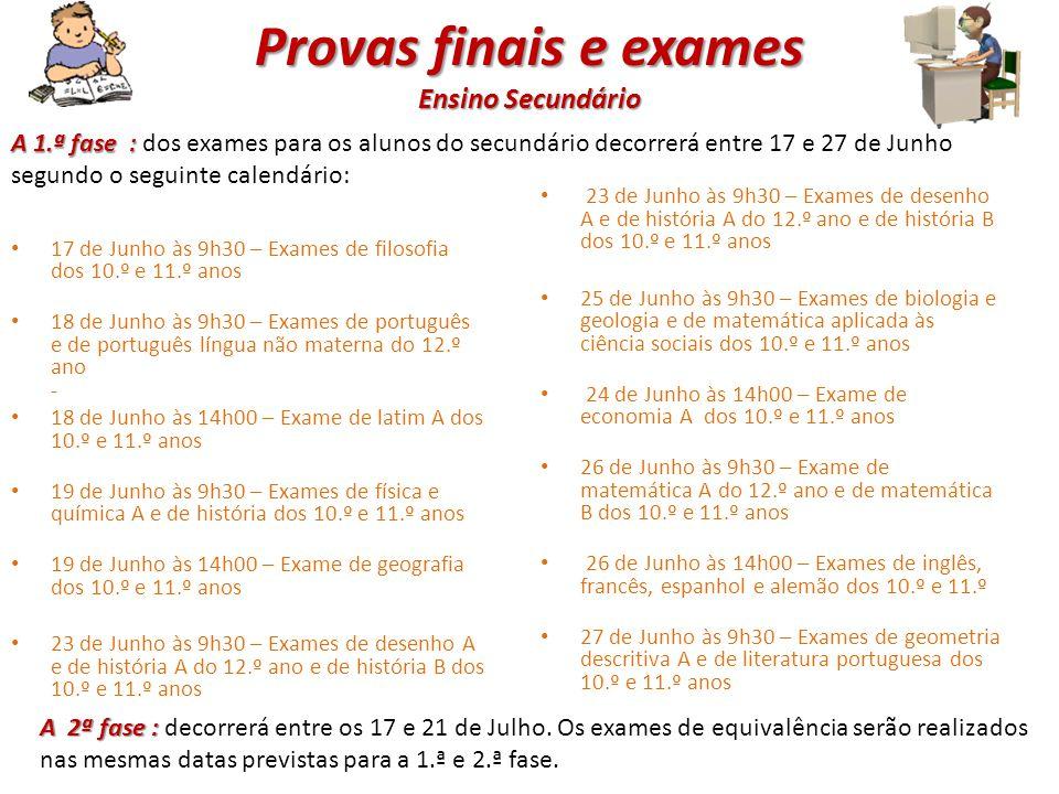 Provas finais e exames Ensino Secundário