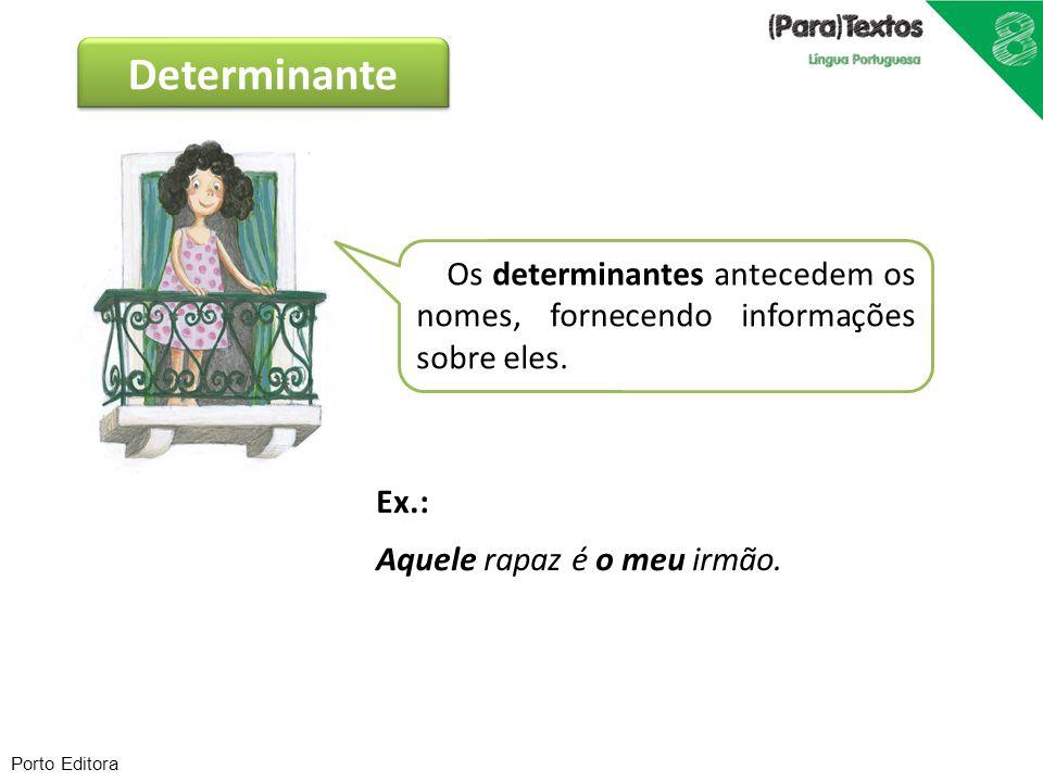 Determinante Os determinantes antecedem os nomes, fornecendo informações sobre eles. Ex.: Aquele rapaz é o meu irmão.
