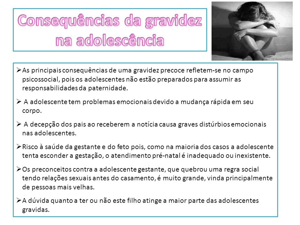 Consequências da gravidez na adolescência