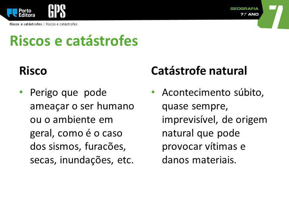 Riscos e catástrofes Risco Catástrofe natural
