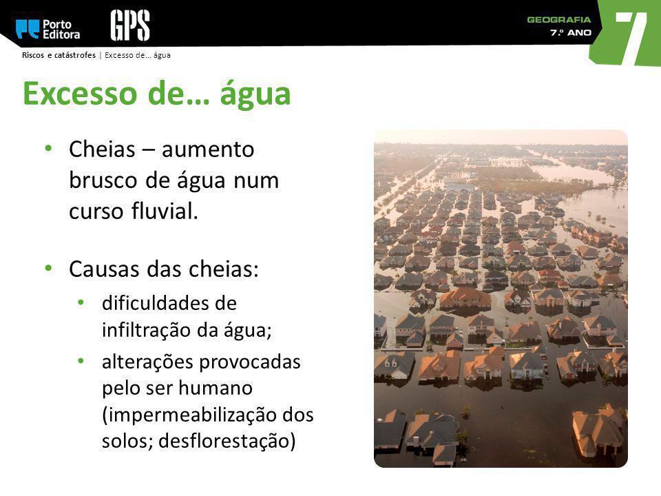 Excesso de… água Cheias – aumento brusco de água num curso fluvial.