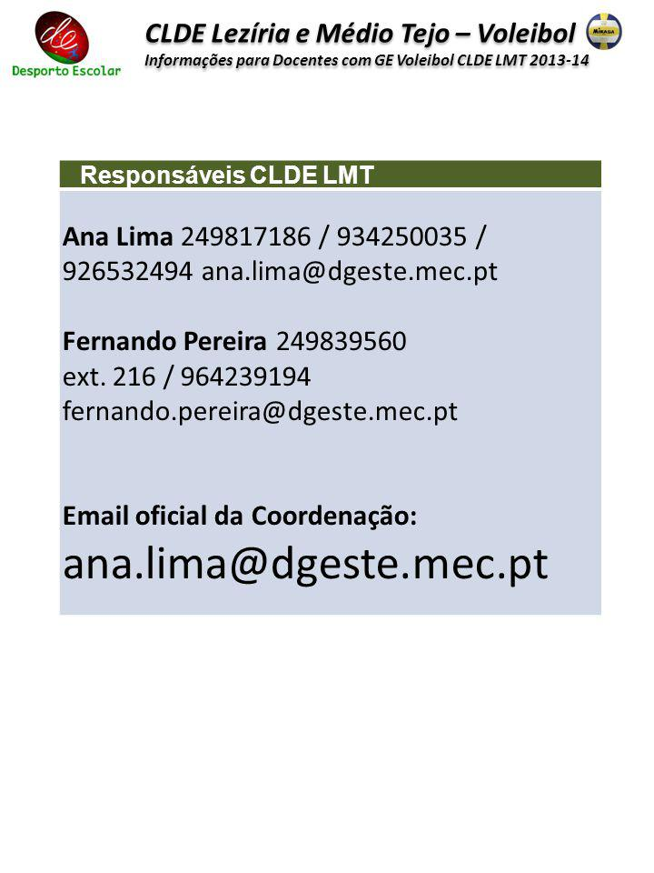 ana.lima@dgeste.mec.pt CLDE Lezíria e Médio Tejo – Voleibol