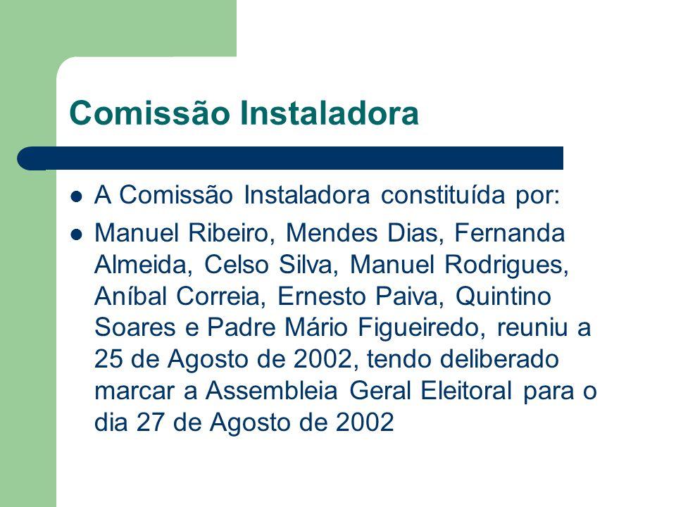 Comissão Instaladora A Comissão Instaladora constituída por:
