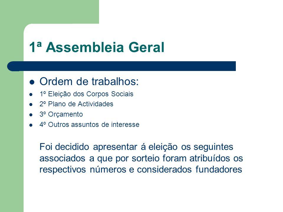 1ª Assembleia Geral Ordem de trabalhos: