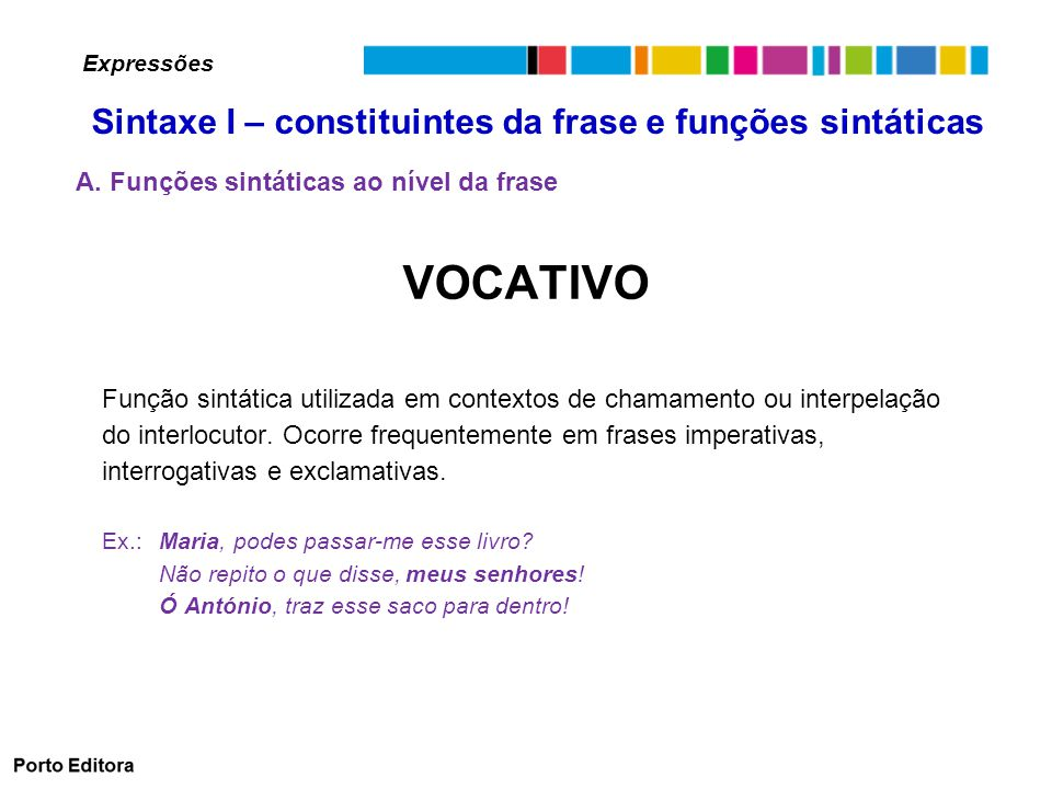 VOCATIVO Sintaxe I – constituintes da frase e funções sintáticas