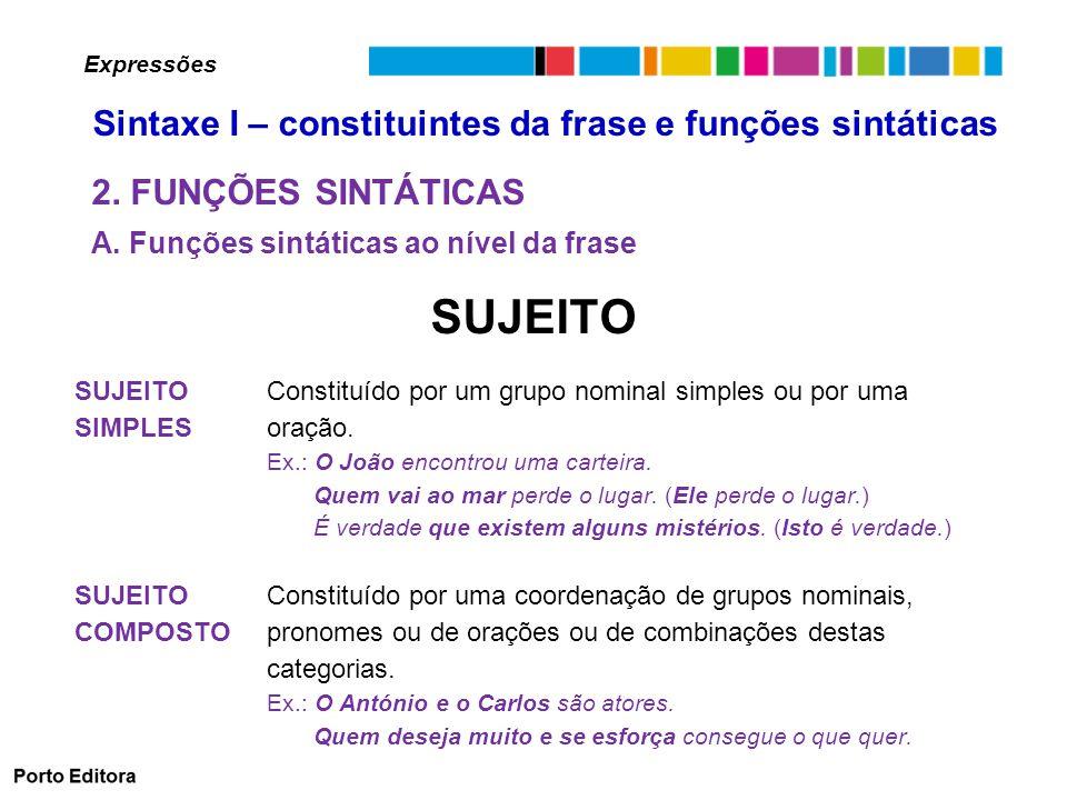 SUJEITO 2. FUNÇÕES SINTÁTICAS