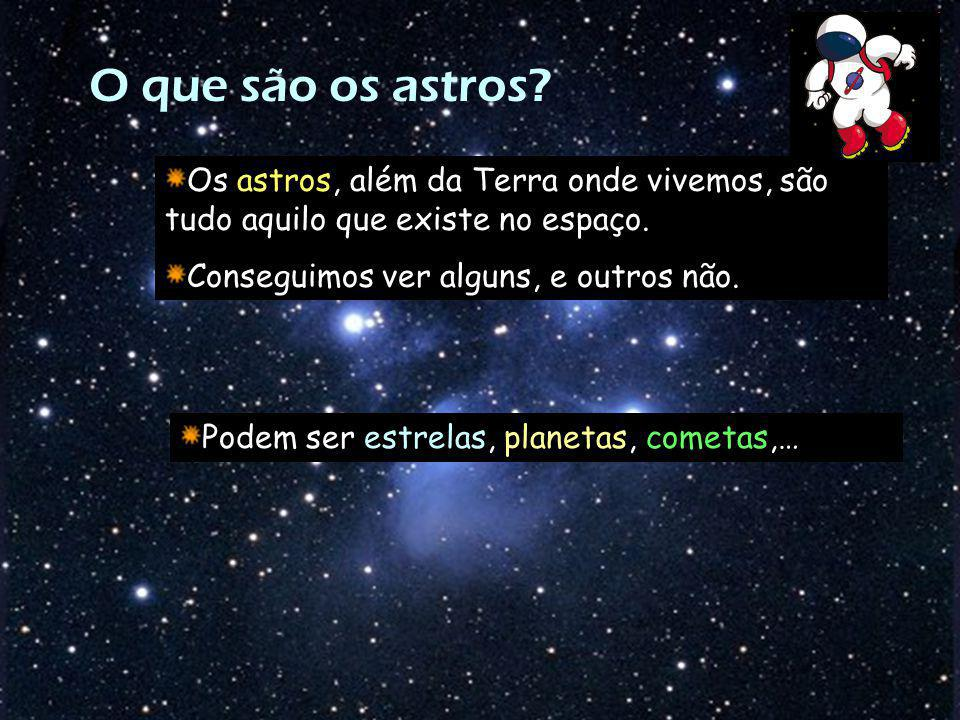 O que são os astros Os astros, além da Terra onde vivemos, são tudo aquilo que existe no espaço. Conseguimos ver alguns, e outros não.