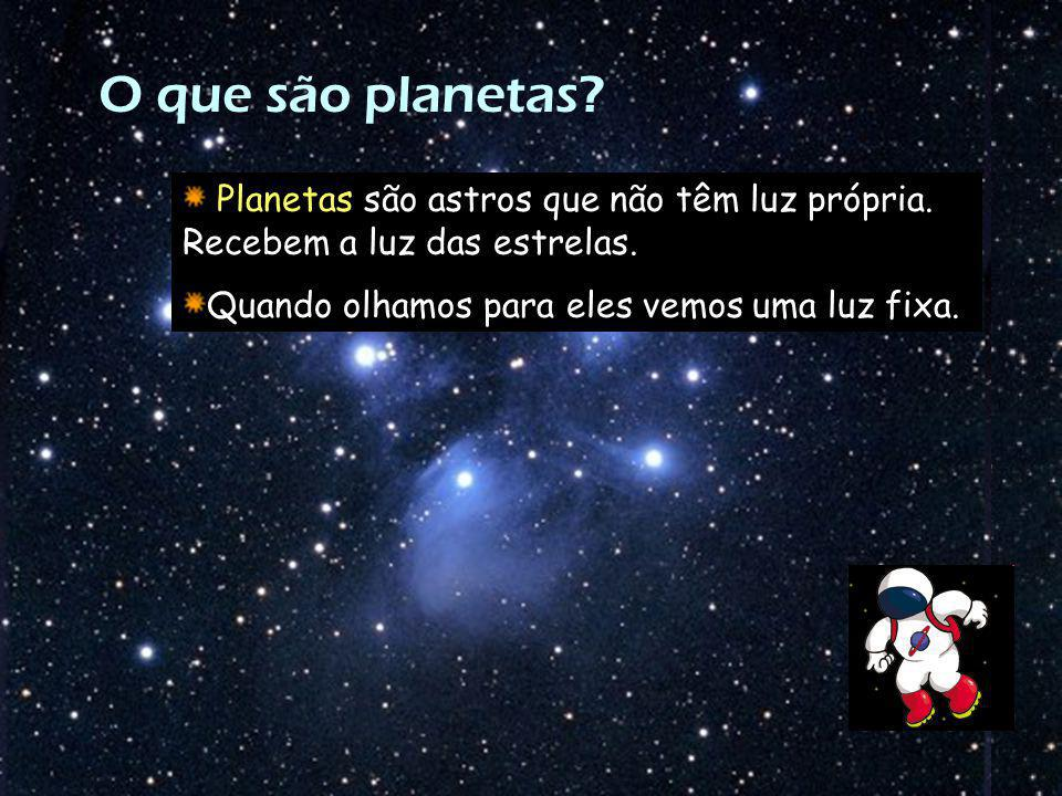 O que são planetas. Planetas são astros que não têm luz própria.
