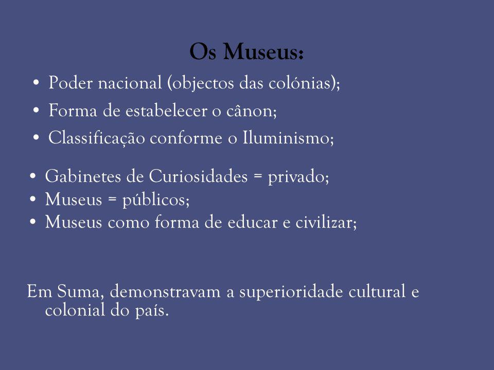 Os Museus: Poder nacional (objectos das colónias);