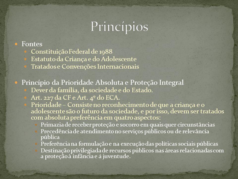 Princípios Fontes Princípio da Prioridade Absoluta e Proteção Integral