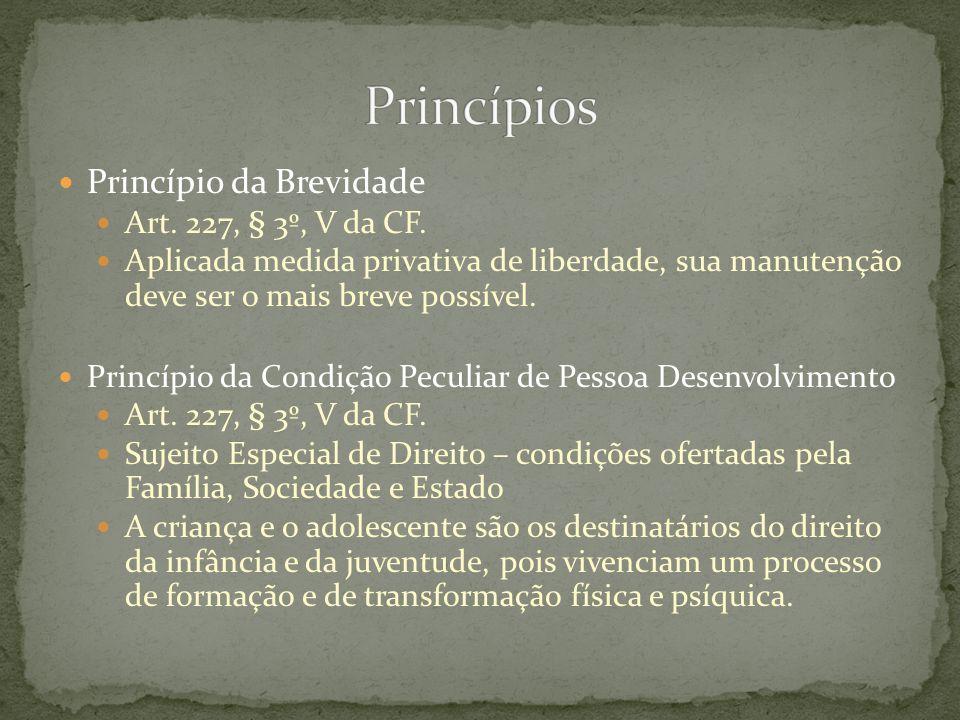 Princípios Princípio da Brevidade Art. 227, § 3º, V da CF.