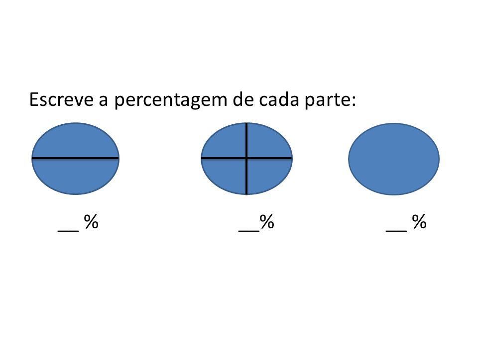 Escreve a percentagem de cada parte: __ % __% __ %