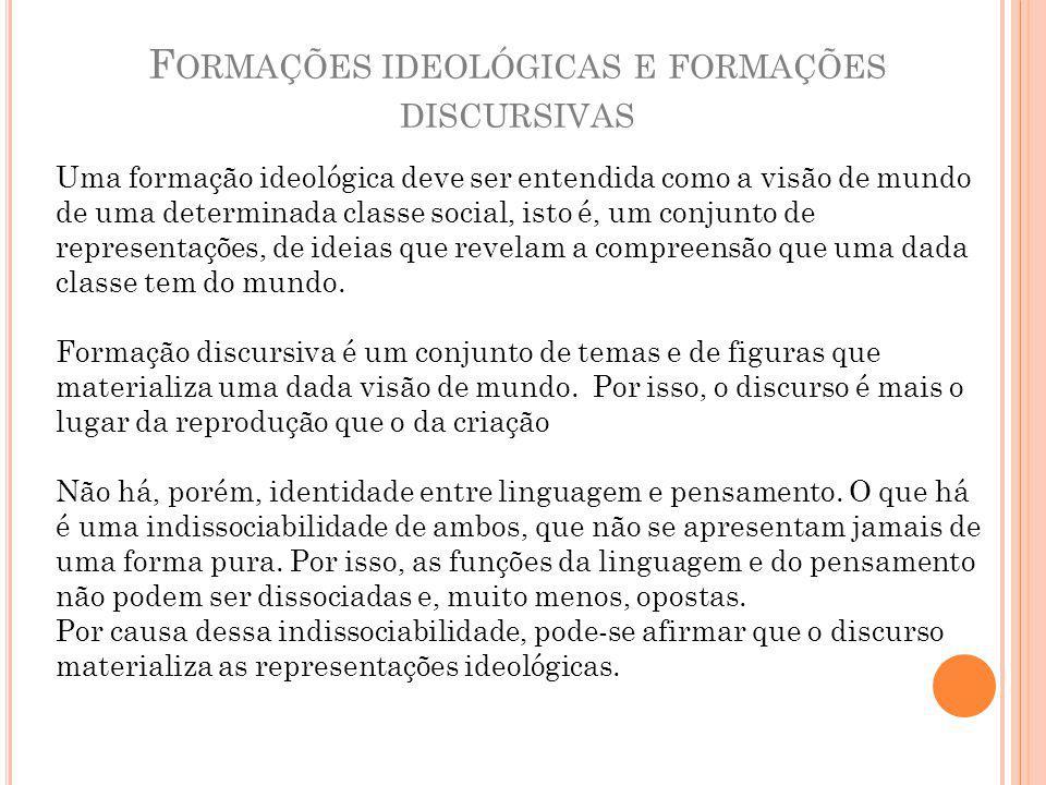 Formações ideológicas e formações discursivas